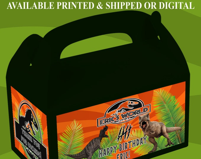Jurassic World Favor Box - Jurassic World Party - Custom Party Favor - Favor Box Labels - Digital - Printed - Party Printable