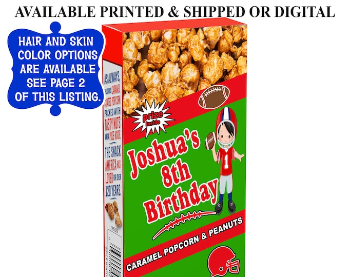 Football Cracker Jack Labels - Cracker Jack Labels or Treats - Football Party Favor - Labels - Cracker Jacks - Digital - Party Printables