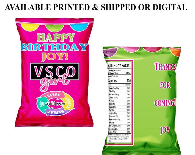 VSCO Chip Bag - VSCO Girl - VSCO Birthday Party - Custom Party Favor - Custom Chip Bag - Digital - Party Printables - Printed