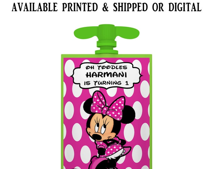 Minnie Mouse Applesauce Pouch Label - Applesauce Pouch Label - Minnie Mouse Party Favor - Digital - Party Printable - Printed