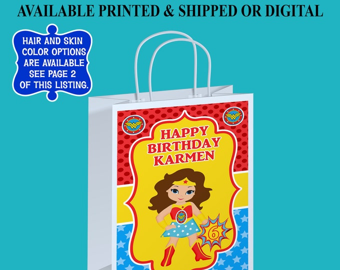 Wonder Woman Gift Bag - Wonder Woman Labels - Party Favor - Wonder Woman - Digital File - Party Printable
