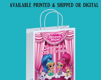Shimmer and Shine Gift Bag Label - Shimmer and Shine Birthday Party - Custom Gift Bag Label - Party Favor - Digital File - Party Printable