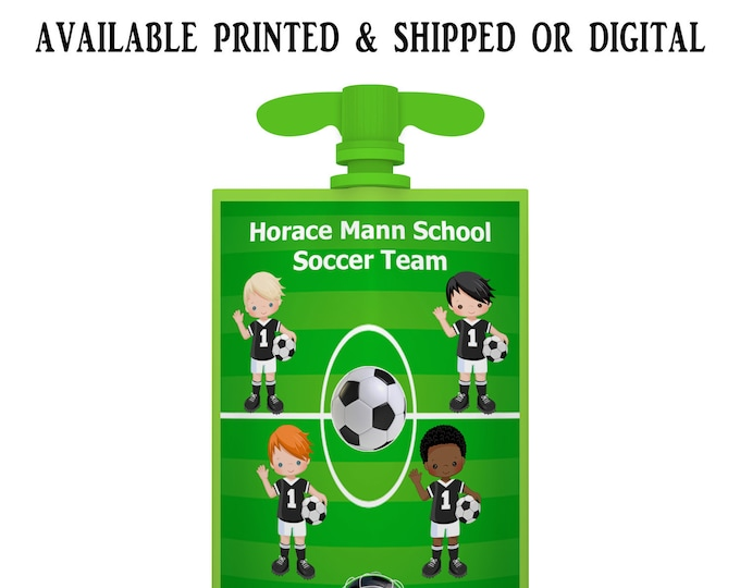 Soccer Applesauce Pouch Label - Applesauce Pouch Label - Soccer Labels - Soccer Party Favors - Digital - Party Printable - Printed