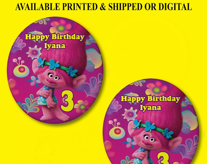 Trolls Pushback Button Pins - Trolls Party Favors - Button Pins - Pushback Button Pins - Party Favor - Trolls Buttons - Party Printable
