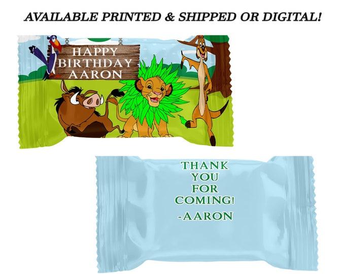 Lion King Rice Krispy Treat Wrapper - Lion King Party Favor - Rice Krispy Treat - Digital File - Party Printables - Printed