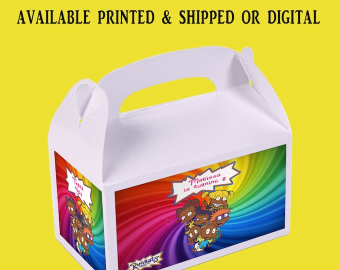 Rugrats Favor Box - Rugrats Party - Custom Party Favor - Rugrats Gable Box - Favor Box Labels - Digital - Printed - Party Printable