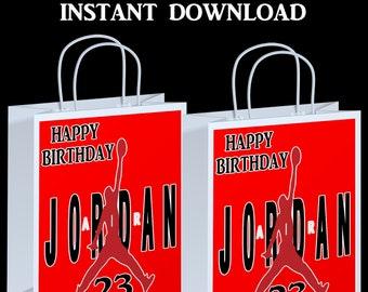 Jordan Gift Bag Label - INSTANT DIGITAL DOWNLOAD - File Cannot Be Customized - File Not Editable  - Party Printables - Digital