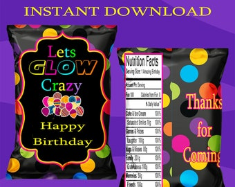 Glow Chip Bag - INSTANT DIGITAL DOWNLOAD - File Cannot Be Customized - File Not Editable - Glow Favor Bag - Glow Party - Digital - Printed