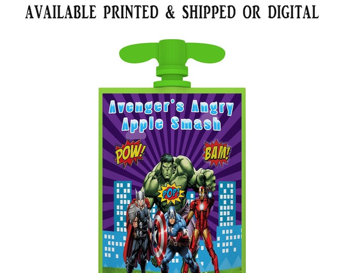 Avengers Applesauce Pouch Label - Applesauce Pouch Label - Avengers Label - Avengers Party Favor - Digital - Party Printable - Printed