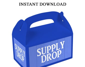 Supply Drop Gable Box Labels - INSTANT DIGITAL DOWNLOAD - File Cannot Be Customized - Supply Drop Labels - Digital File - Printed