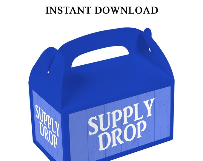 Supply Drop Favor Box Labels - INSTANT DIGITAL DOWNLOAD - File Cannot Be Customized - Gable Box - Supply Drop Label - Digital File - Printed