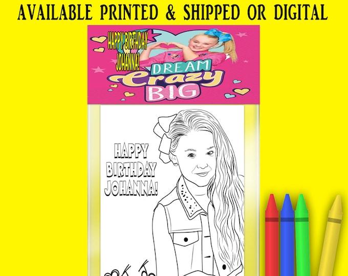 JoJo Siwa Coloring Pack - FREE CRAYONS - JoJo Siwa Party Favor - Coloring Book - Digital - Party Printables - Printed