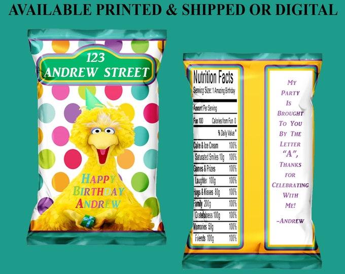 Sesame Street Chip Bag - Sesame Street Favor Bag - Sesame Street - Custom Chip Bag - Digital - Party Printables