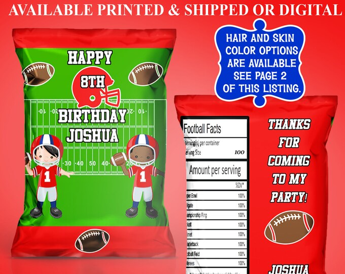 Football Chip Bag - Football Party - Party Favor - Custom Chip Bag - Custom Party Favor - Digital - Party Printable - Printed