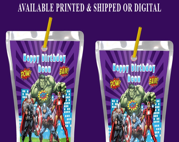 Avengers Capri Sun Label - Juice Pouch Label - Avengers Label -Avengers Party Favor - Digital - Party Printable - Printed