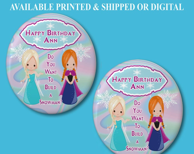 Frozen Pushback Button Pins - Frozen Party Favors - Button Pins - Pushback Button Pins - Party Favor - Frozen Buttons - Party Printable