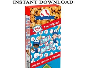 Baseball Cracker Jack Labels - INSTANT DIGITAL DOWNLOAD - Baseball Party Favors - Cracker Jack - Party Printable - Digital File - Printed