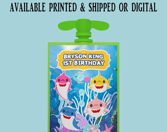 Shark Applesauce Pouch Label - Applesauce Pouch Label - Shark Label - Shark Party Favor - Digital - Party Printables