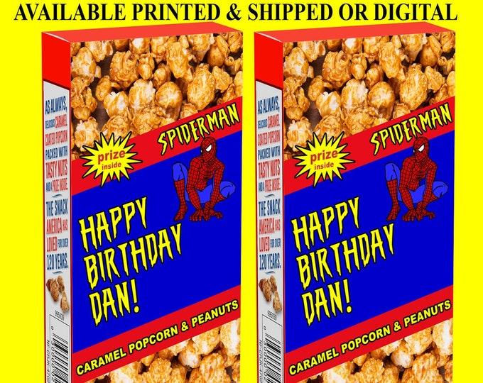 Spiderman Cracker Jack Labels - Cracker Jack Labels - Spiderman Party Favor - Spiderman Birthday Party - Digital - Party Printables