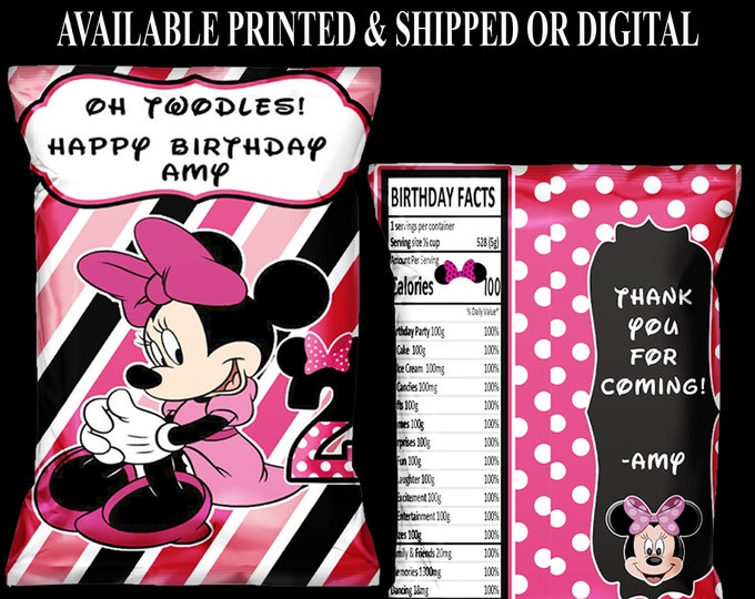 Minnie Mouse Chip Bags - Custom Chip Bags - First Birthday Chip Bag - Minnie Mouse Party - Favor Bags - Digital - Party Printable - Printed