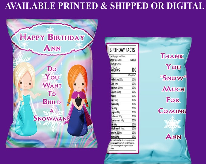 Frozen Chip Bags - Custom Chip Bags - Frozen Birthday Party - Frozen Party Favors - Digital File - Frozen Printables - Party Printable