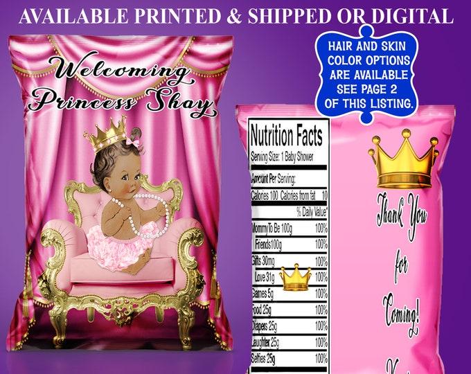 Princess Chip Bag - Custom Chip Bag - Party Favor - Princess Baby Shower Theme - Chip Bag - Digital - Party Printable