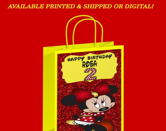 Minnie Mouse Gift Bag - Yellow Red - Minnie Mouse Labels - Party Favor - Birthday Party - Minnie Mouse Party - Digital - Printed
