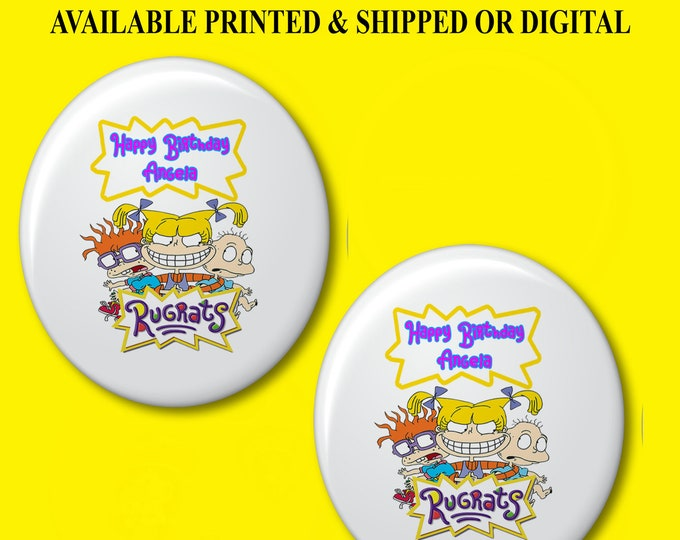 Rugrats Pushback Button Pins - Rugrats Party Favors - Button Pins - Pushback Button Pins - Party Favor - Rugrats Buttons - Party Printable
