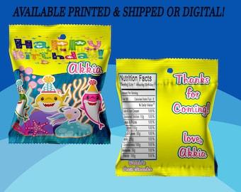 Shark Fruit Snack Favors - Fruit SnackWrappers - Shark Party Favors - Digital - Printed - Party Printable