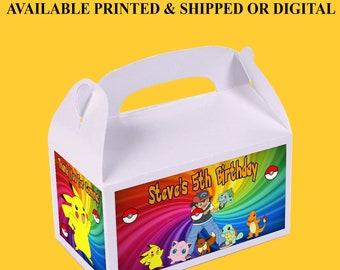 Pokemon Favor Box - Custom Gable Box - Pokemon Gable Box - Gable Box - Printed - Digital