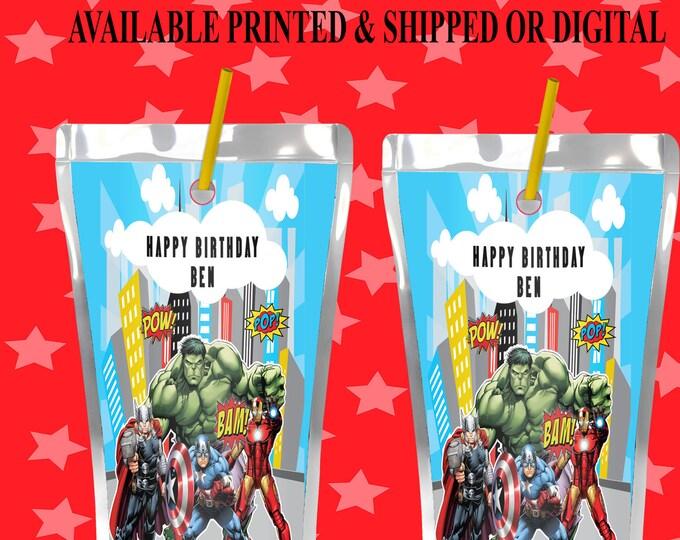 Avengers Capri Sun Label - Avengers Juice Pouch Label - Avengers Label - Avengers Party Favor - Digital - Party Printable - Printed