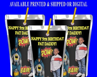 Batman Capri Sun Label with Photo - Party Favor - Juice Pouch Label - Digital File - Printable - Party Printable - Printed