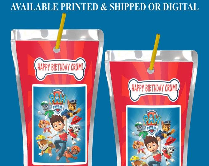 Paw Patrol Capri Sun Label - Paw Patrol Party Favor - Paw Patrol Juice Pouch Label - Digital File - Printable - Party Printable - Printed