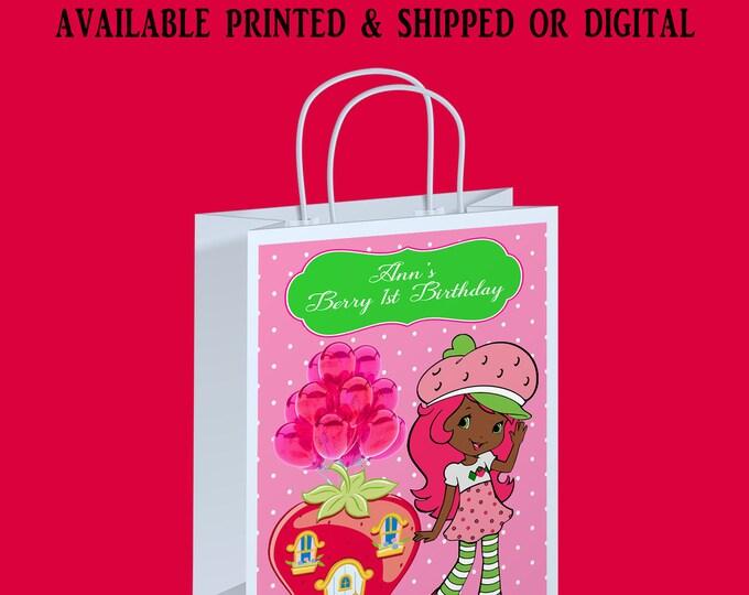 Strawberry Shortcake African American Gift Bag Label - Strawberry Shortcake Party - Gift Bag Labels - Digital - Printed - Party Printable