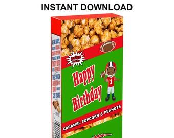 Football Cracker Jack Labels - INSTANT DIGITAL DOWNLOAD - Football Party Favors - Cracker Jack - Party Printable - Digital File - Printed