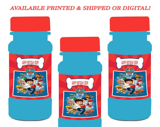 Paw Patrol Bubble Labels - Party Favor - Paw Patrol Party Favors - Bubble Stickers - Digital - Printed - Party Printables