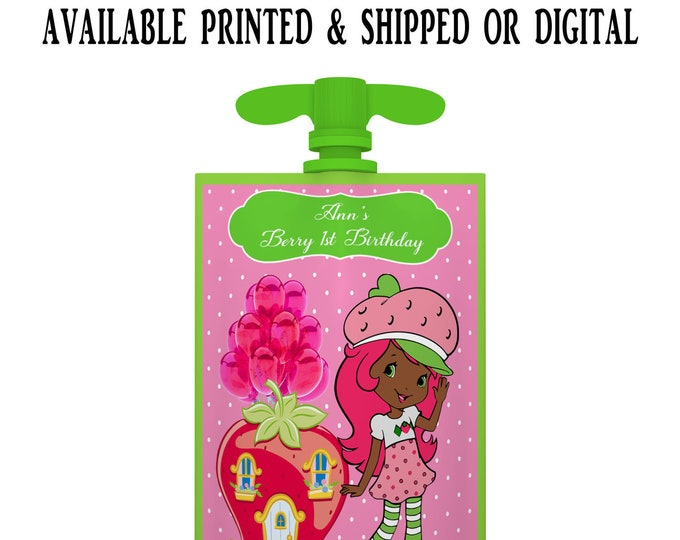 Strawberry Shortcake African American Applesauce Pouch Label - Applesauce Pouch Label - Strawberry Shortcake - Digital - Party Printable