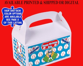 Baseball Gable Box - Baseball Birthday Party - Custom Party Favor - Gable Box Labels - Digital - Printed - Party Printable
