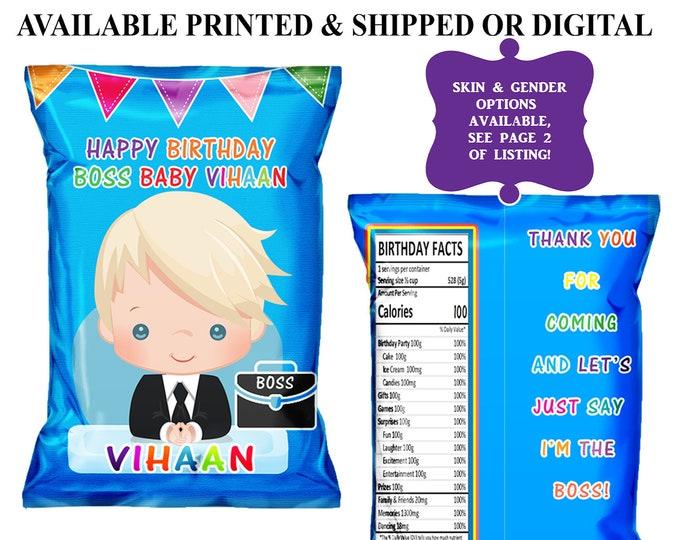 Boss Baby Chip Bag - Custom Chip Bag - Party Favor - Boss Baby Theme - Chip Bag - Digital - Party Printable - Printed