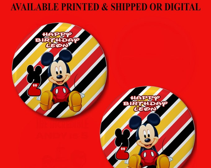 Mickey Mouse Pushback Button Pins - Mickey Mouse Party Favors - Button Pins - Pushback Button Pins - Party Printable