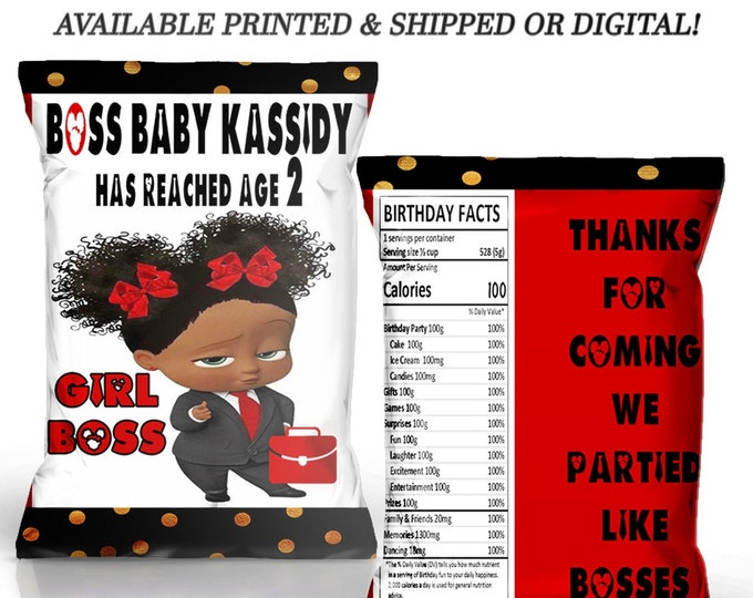 Boss Baby Chip Bag - Boss Baby - Custom Chip Bag - Boss Baby Party Favor - Party Printables - Digital File - Printed