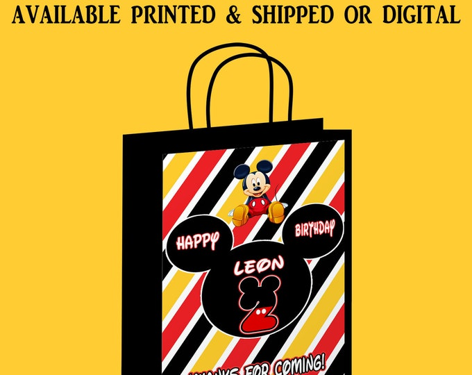 Mickey Mouse Gift Bag Label - Mickey Mouse Party Favor - Custom Gift Bag Label - Party Printables - Digital - Printed - Party Printables