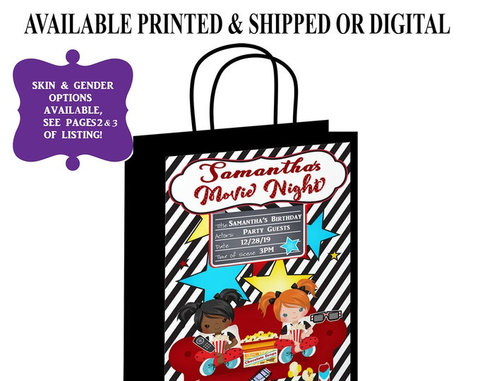 Movie Night Gift Bag Label - Sleepover Gift Bag Label - Gift Bag - Slumber Party - Digital - Party Printable