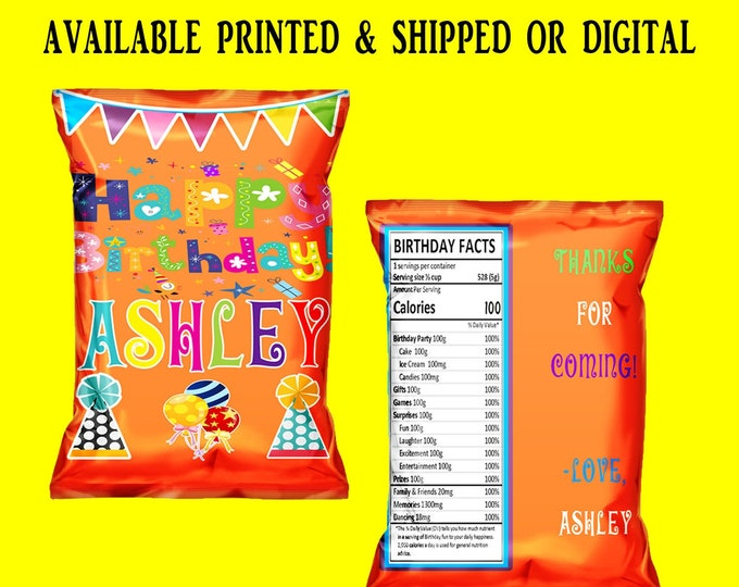 Happy Birthday Chip Bag - Happy Birthday Favor Bag - Chip Bag - Birthday Party Favors - Digital - Printed - Party Printable