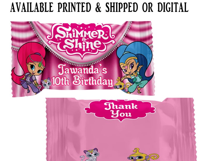 Shimmer and Shine Rice Krispy Treat Wrapper - Shimmer and Shine Party Favor - Rice Krispy Treat - Digital - Party Printable - Printed