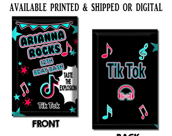 Music Pop Rock Wrapper - Custom Party Favor - Music Party Favors - Custom Candy Favors - Pop Rocks - Digital - Party Printables