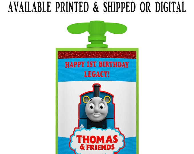 Thomas the Train Applesauce Pouch Labels - Applesauce Pouch Labels - Thomas the Train Party Favors - Digital - Party Printable - Printed