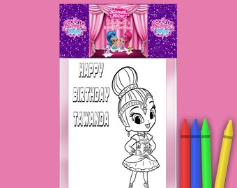 Shimmer and Shine Coloring Pack - FREE Crayons - Custom Coloring Book - Shimmer Shine Party Theme - Digital - Party Printables