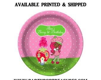 Strawberry Shortcake Dinner Plate - Paper Plate - Custom Paper Plate - Strawberry Shortcake Party - Digital - Printed - Party Printable