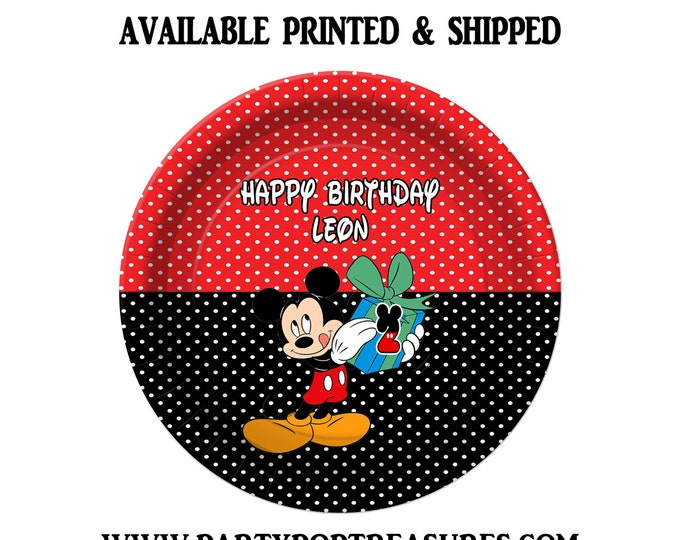 Mickey Mouse Dinner Plate - Paper Plate - Custom Paper Plate - Mickey Mouse Party - Mickey Mouse Theme - Digital - Printed - Party Printable
